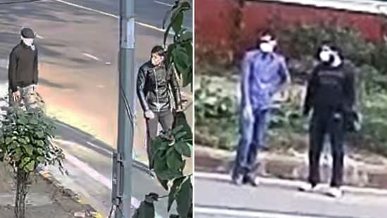 NIA has released a video and images from a CCTV footage near the spot of explosion. Two suspected men are seen roaming in the area.(HT Photo)