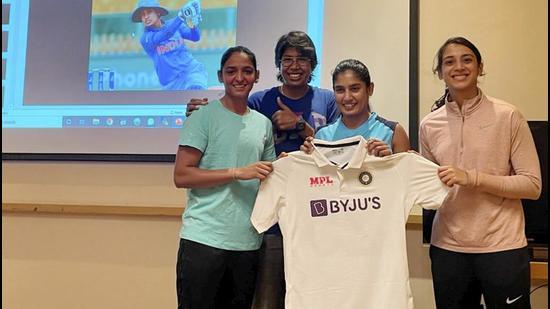 Indian women cricketers Harmanpreet Kaur, Jhulan Goswami, Mithali Raj and Smriti Mandhana (L-R) at the unveiling of the team's new Test kit ahead of England Test. (PTI)