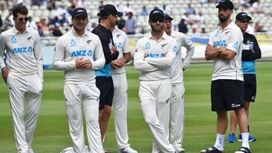 New Zealand during the presentation ceremony after their win in the second cricket test match against England at Edgbaston(AP)