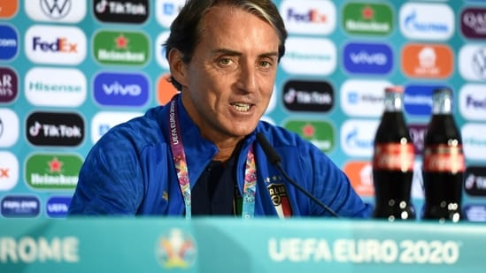Italy coach Roberto Mancini during the press conference.(REUTERS)