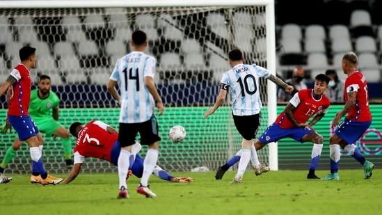 Argentina's Lionel Messi shoots at goal(REUTERS)