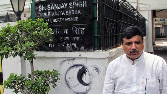 AAP Rajya Sabha MP Sanjay Singh's nameplate is blackened by an unknown person at his residence, in New Delhi on Tuesday. (ANI Photo)