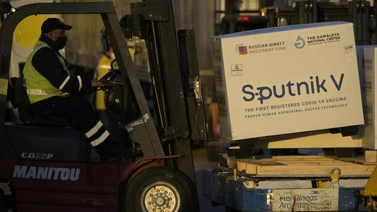Sputnik V update: Shipping containers carrying first, second doses and active ingredients to make Sputnik V vaccines seeb at the tarmac of Ezeiza International airport in Buenos Aires. (AFP)