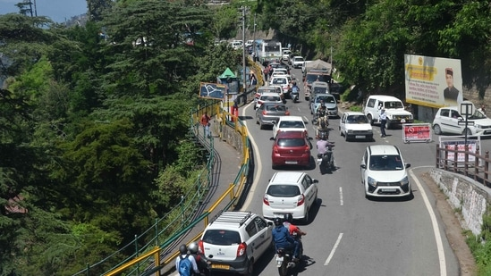 Himachal Pradesh a huge inflow of tourists after the state government relaxed Covid guidelines. (Deepak Sansta/HT Photo)