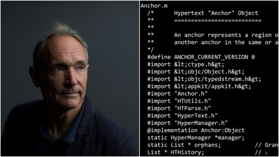 The source code, written by British computer scientist Sir Tim Berners-Lee, that formed the basis of the World Wide Web is up for auction as NFT.(Reuters, Sotheby's)
