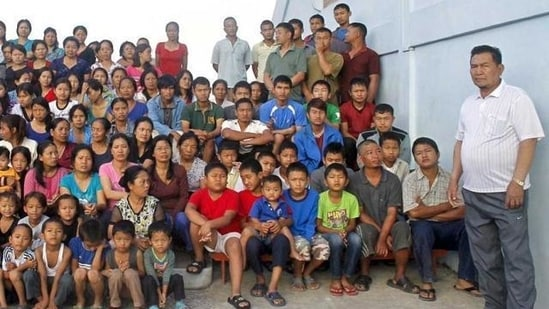 Zion-a headed what is believed to be the world's largest family. His four-storey mansion is a major tourist attraction in Mizoram village where he lived.(File Photo)