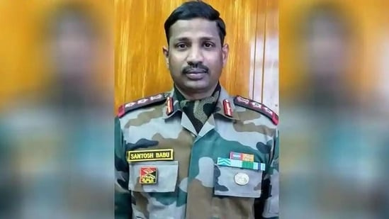 Colonel Santosh Babu, the commanding officer of the 16 Bihar regiment, was among 20 Indian soldiers killed in the fierce hand-to-hand combat on June 15 last year in the Galwan Valley.(HT Photo)