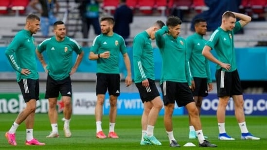 Hungary players attend a training session(AP)