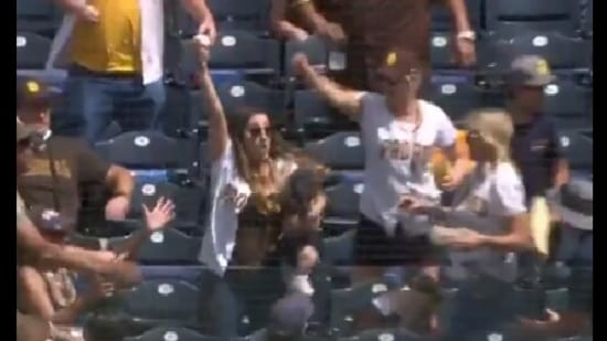 The image is a screengrab of the moments showing Lexy Whitmore holding the ball at the MBL match.(Twitter/@Padres)