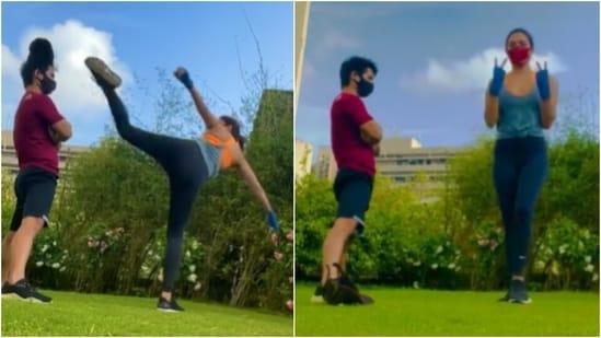 Need workout motivation? Watch Kiara Advani nail a Spinning Back High Kick(Instagram/@kiaraaliaadvani)