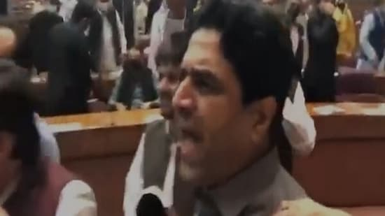 A scene of the ruckus inside Pakistan National Assembly on Tuesday.(ANI Photo)