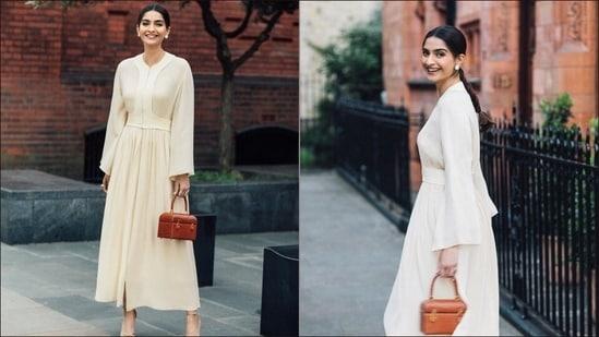 Sonam Kapoor is 'all smiles on a date night', teams white fluid dress with <span class='webrupee'>₹</span>1.8 lakh handbag(Instagram/sonamkapoor)