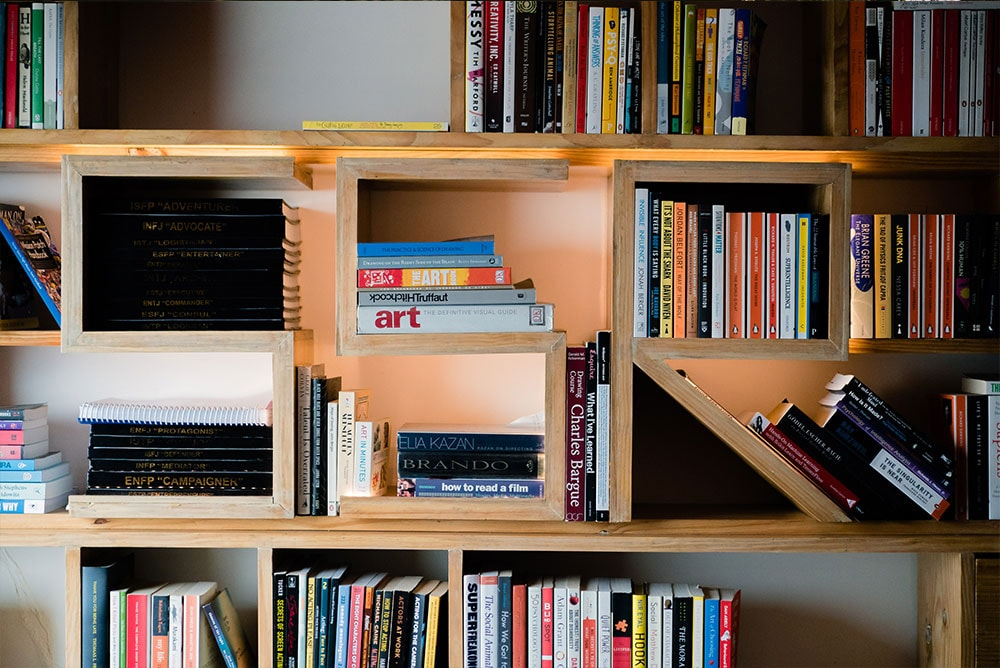 A book case in Sushant Singh Rajput's home