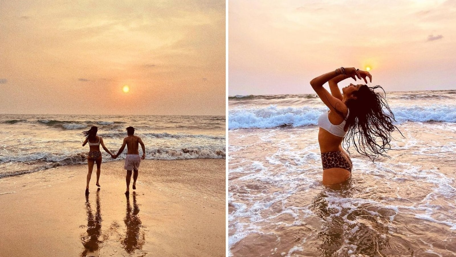 Janhvi Kapoor runs off into the sunset with friend, takes a dip in the sea and poses on the beach. See photos | Bollywood - Hindustan Times