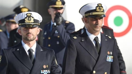 In this December 2002 file photograph, Italian marines Massimiliano Latorre (R) and Salvatore Girone (L) arriving at Ciampino airport near Rome. (AFP file photo)