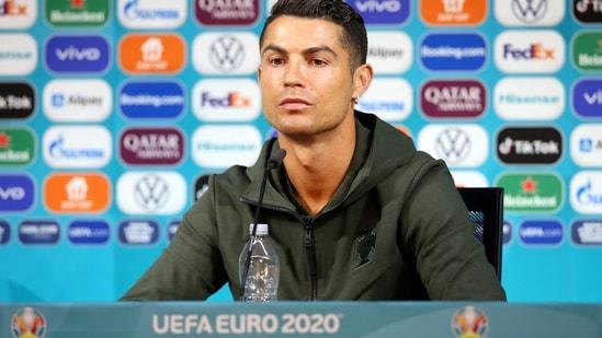 EURO 2020: Cristiano Ronaldo removed two Coca-Cola bottles at a press conference.(Reuters)