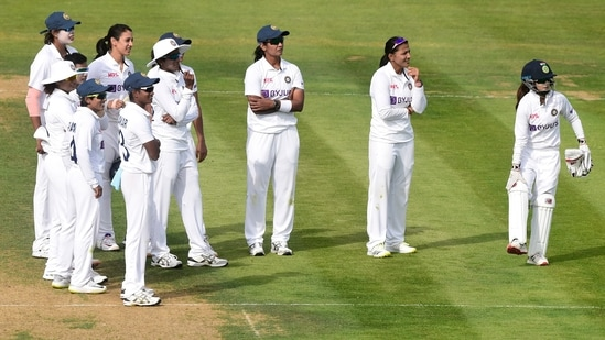 India players watch a review for the wicket of England's Heather Knight(REUTERS)