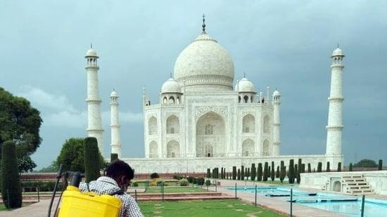 Taj Mahal will be sanitised three times a day, superintending archaeologist, ASI, Agra Circle, Vasant Kumar Swarnakar told news agency PTI on Tuesday.(ANI Photo)