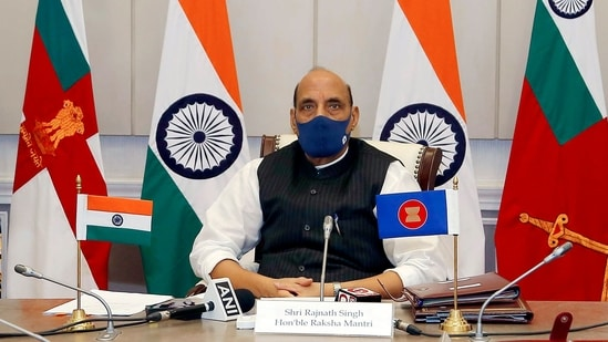 Rajnath Singh's comments during a virtual address at the 8th ASEAN Defence Ministers Meeting Plus came at a time when Beijing's aggressive posturing in the resource-rich waters of South China Sea has attracted global attention. (ANI Photo)