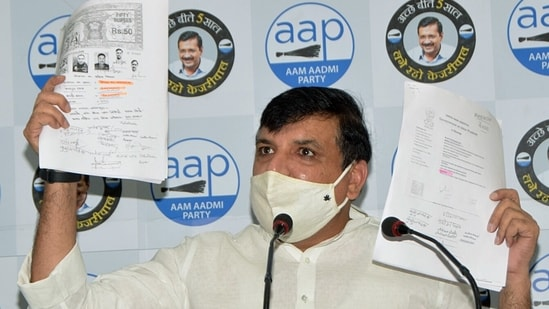 AAP MP Sanjay Singh released new documents claiming that the earlier agreement over the Ram Temple land was cancelled before the new deal was sealed. (ANI)