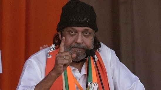 Actor Mithun Chakraborty, who joined the BJP in March, campaigned aggressively for the party during West Bengal assembly polls.(Samir Jana/HT File Photo)