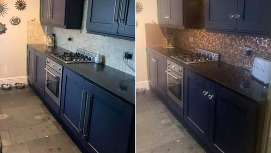 The images showing renovation of kitchen with pennies have left people in awe.(Facebook/@Billie Jo Welsby)