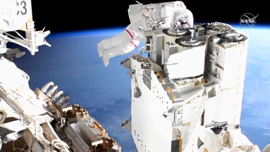 Nasa and ESA astronauts out for a spacewalk to install new solar arrays to power International Space Station.(Twitter / @Nasa)