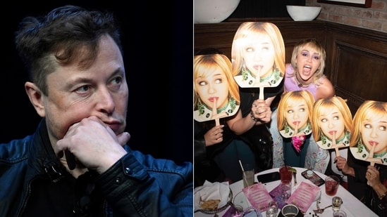 Elon Musk and Miley Cyrus' Twitter conversation about Hannah Montana meme for hacktivist group 'Anonymous' has left people chuckling.(Instagram/@mileycyrus/ Elon Musk)