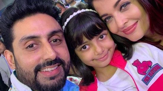 Abhishek Bachchan with his wife Aishwarya Rai and daughter Aaradhya.