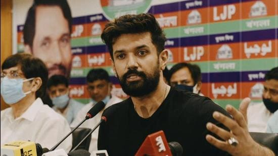LJP leader Chirag Paswan addressing a press conference at his residence in New Delhi on Wednesday. (ARVIND YADAV/HT PHOTO.)