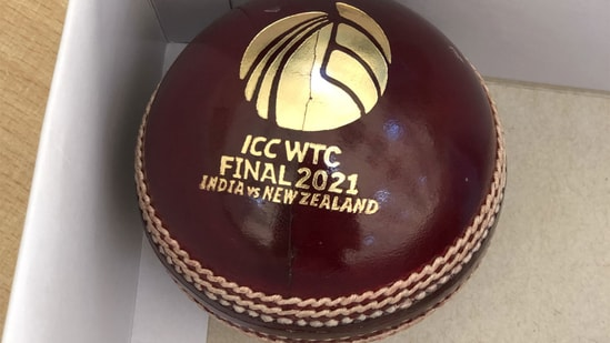 The 'red cherry' has 'ICC WTC Final 2021 India vs New Zealand' written on it, accompanied by the ICC logo. (BlackCaps/Twitter)