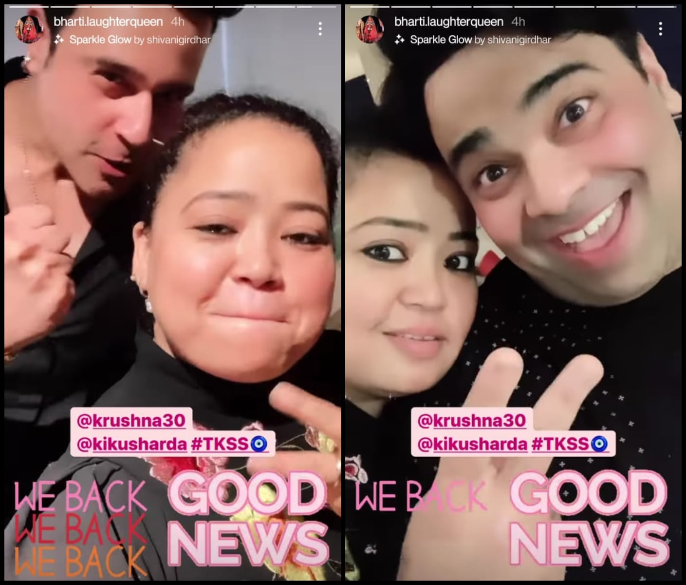 Bharti Singh shared a video with Krushna Abhishek and Kiku Sharda on Instagram Stories.