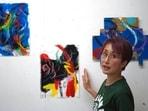 Japanese artist Miwako Sakauchi speaks about her art work for Art Exhibition