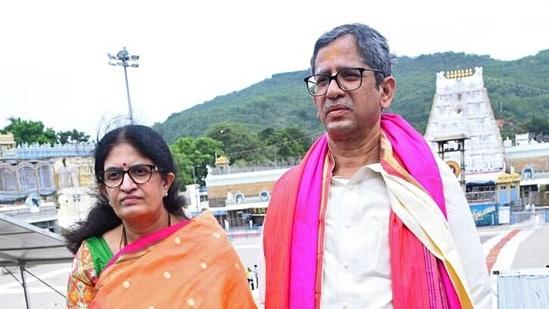 Chief Justice of India Justice NV Ramana at Sri Venkateswara Swamy temple in Tirupati. (ANI Photo)
