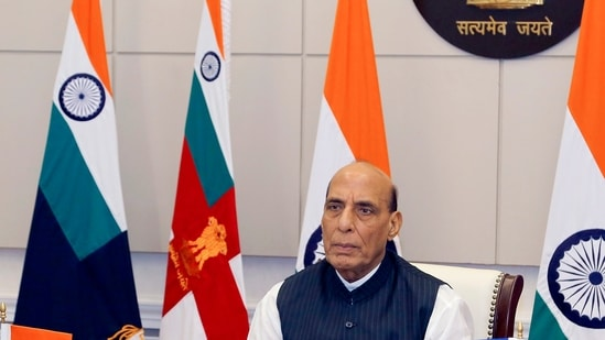 """Defence Minister Rajnath also hailed the """"bravery, valour and sacrifice"""" of Indian soldiers who sacrificed their lives for the nation during the Galwan clash. (ANI Photo)"""