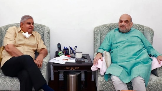 Bengal governor Jagdeep Dhankhar with Union home minister Amit Shah in New Delhi on Thursday. Dhankhar is learnt to have briefed Shah about the law and order situation in the state. (ANI Photo)