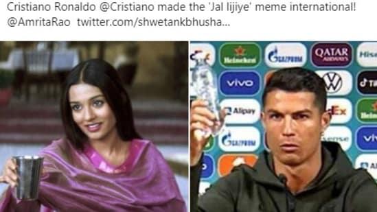 Amrita Rao took to Twitter to react to 'Cristiano Ronaldo made Jal lijiye meme international'(Twitter/@coolfunnytshirt)
