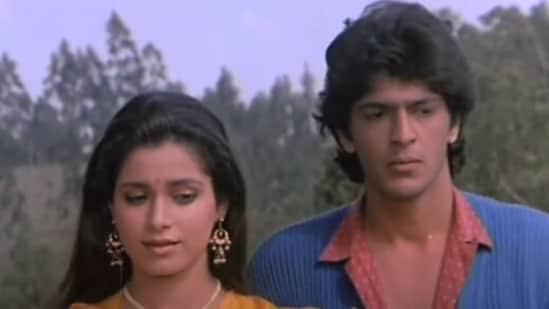 Chunky Panday and Neelam Kothari Soni in Aag Hi Aag.