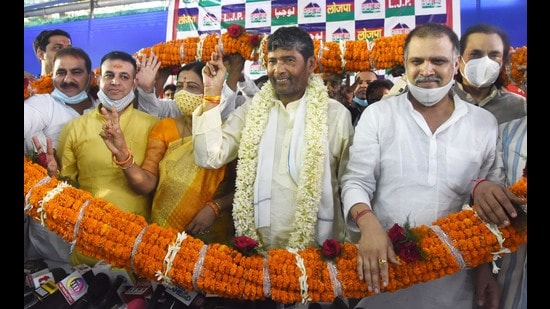 Pashupati Kumar Paras was felicitated at the party office in Patna after his faction announced his election as the Lok Janshakti Party (LJP) new national president (HT Photo/Santosh Kumar)