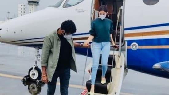 Nayanthara along with her filmmaker boyfriend Vignesh Shivn.