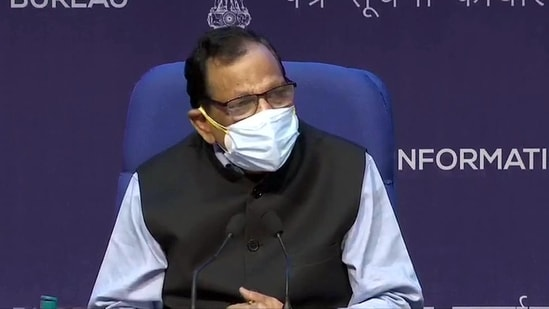 Member of NITI Aayog Dr. VK Paul addresses a press conference, in New Delhi on Saturday.(ANI Photo)