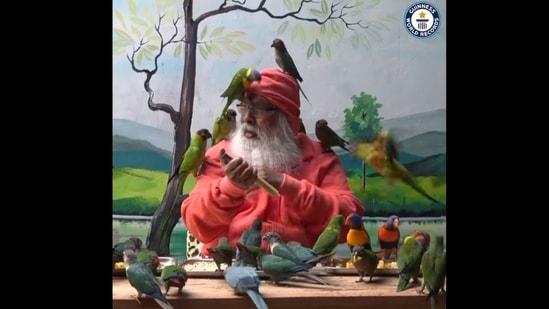 Dr Sri Ganapathy Sachchidananda Swamiji who founded the Shuka Vana sanctuary in Karnataka's Mysuru.(Facebook/Guinness World Records)