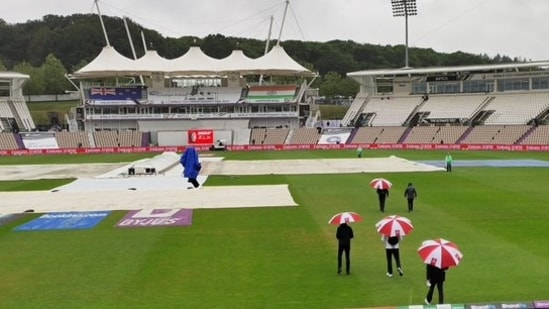 Match officials inspect the pitch and the ground at Rose Bowl stadium in Southampton ahead of start of play on day 1 of World Test Championship Final.(Twitter/BCCI)