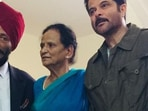 Anil Kapoor with late Milkha Singh and his wife Nirmal Kaur.