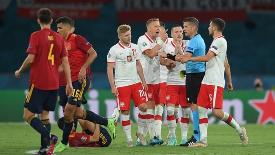 Spain vs Poland ended in 1-1 draw.(Pool via REUTERS)