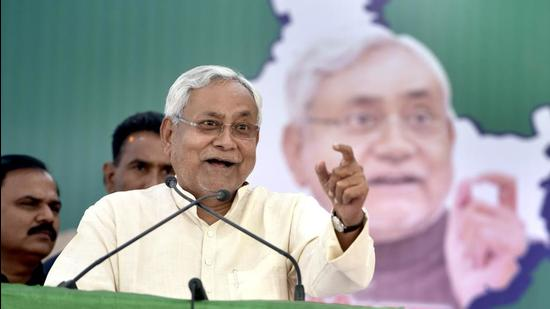 New Delhi, India - April 9, 2017: Bihar Chief Minister and JDU leader, Nitish Kumar during his rally for the forth coming MCD Election at Meetha Pur near Badar Pur in New Delhi, India, on Sunday, April 9, 2017. (Photo by Sushil Kumar/ Hindustan Times) (Sushil Kumar/HT PHOTO)