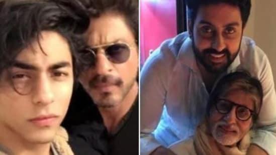 Aryan Khan with dad Shah Rukh Khan and Abhishek Bachchan with dad Amitabh Bachchan.