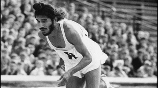 In this June 20, 1961, file photo, Milkha Singh starts the 400 metres race in the Janusz Kusocinski Memorial Track and Field MeetinG, in Warsaw, Poland. (AP)
