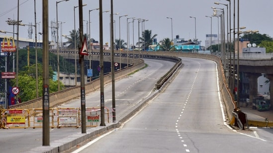 A deserted highway in Bengaluru after a lockdown was imposed by the Karnataka government as a preventive measure against the spread of the coronavirus.(File photo)