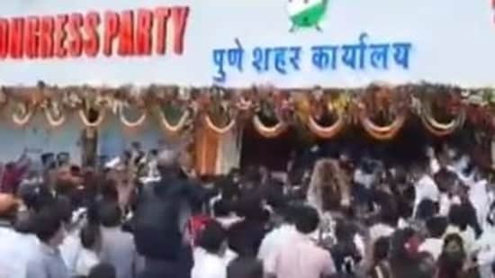 A massive crowding was witnessed at the inauguration of NCP's party office in Pune on Saturday.